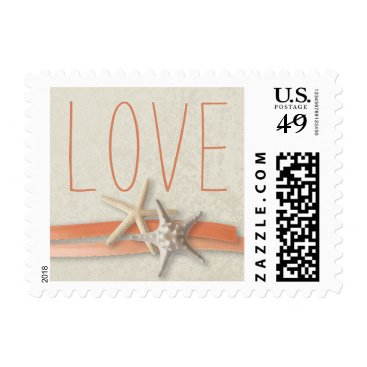 Beach Themed Coral Starfish and Ribbon Love Postage