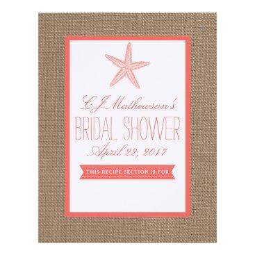 Beach Themed Coral Starfish Beach Bridal Shower Recipe Divider Letterhead