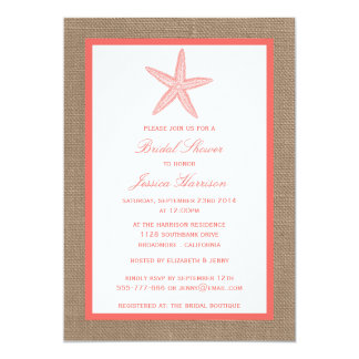 Coral Starfish Beach Burlap Bridal Shower Card