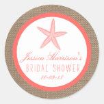 Coral Starfish Burlap Beach Bridal Shower Stickers Round Sticker