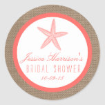 Coral Starfish Burlap Beach Bridal Shower Stickers