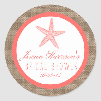 Coral Starfish Burlap Beach Bridal Shower Stickers