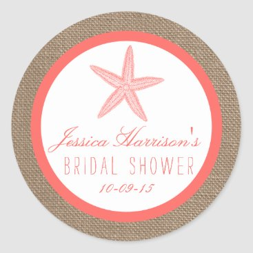 Beach Themed Coral Starfish Burlap Beach Bridal Shower Stickers