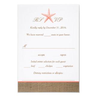 Coral Starfish Burlap Beach Wedding RSVP Cards