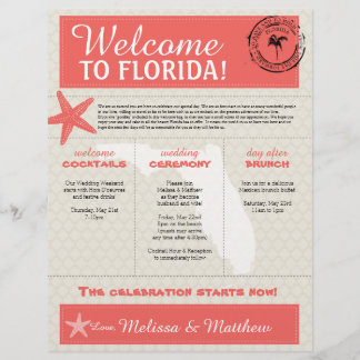 Coral Starfish Florida Wedding Welcome Letter