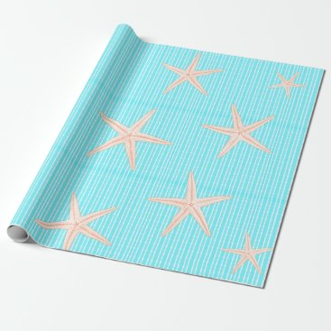 Beach Themed Coral Starfish on Aqua Blue Wrapping Paper