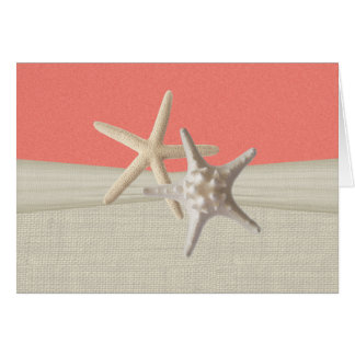 Coral Starfish Rustic Thank You Card