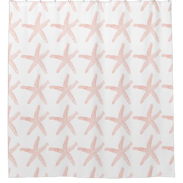 Beach Themed Coral Starfish Shower Curtain