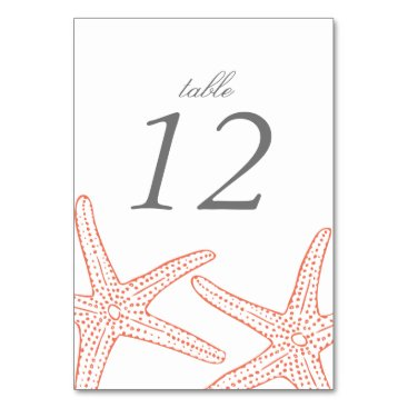 Beach Themed Coral Starfish Table Number Cards