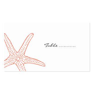 Coral Starfish Wedding Placecards Business Card Templates