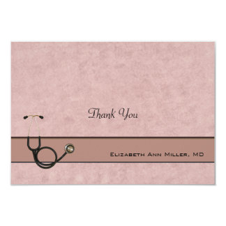 Coral Stethoscope Coordinating Thank You Notes Card