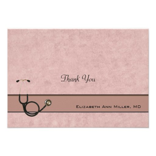 Coral Stethoscope Coordinating Thank You Notes Personalized Invite