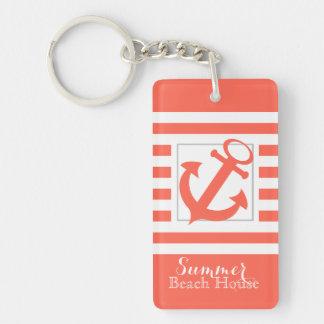 Coral Stripe Beach House Double-Sided Rectangular Acrylic Keychain