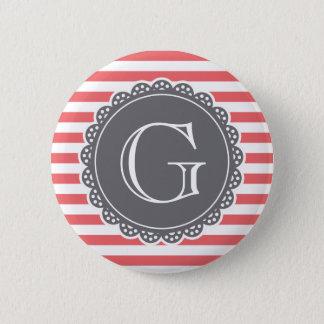 Coral Striped Pattern Slate Grey Monogram Pinback Button