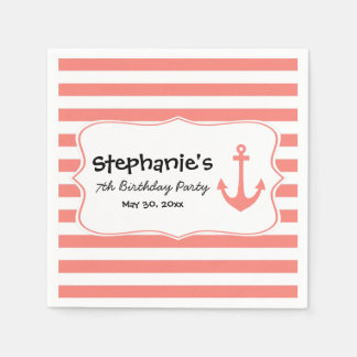 Coral Stripes and Nautical Anchor Birthday Party Paper Napkin