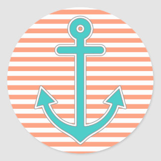 Coral Stripes Teal Anchor Nautical Classic Round Sticker