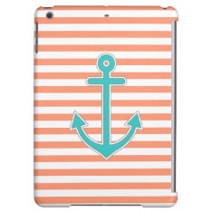 Coral Stripes Teal Anchor Nautical Cover For Ipad Air at Zazzle