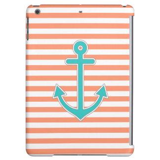 Coral Stripes Teal Anchor Nautical Cover For iPad Air
