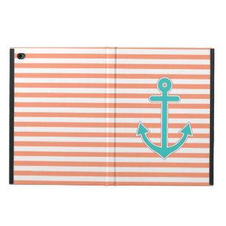 Coral Stripes Teal Anchor Nautical Powis iPad Air 2 Case
