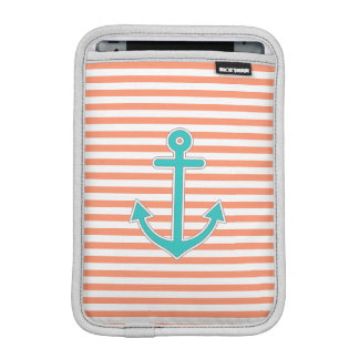 Coral Stripes Teal Anchor Nautical iPad Mini Sleeve