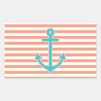 Coral Stripes Teal Anchor Nautical Rectangular Sticker