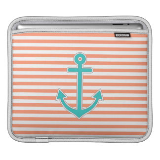 Coral Stripes Teal Anchor Nautical Sleeve For iPads