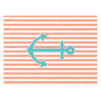 Good Coral Stripes Teal Anchor Nautical Tablecloth
