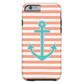Coral Stripes Teal Anchor Nautical Tough iPhone 6 Case