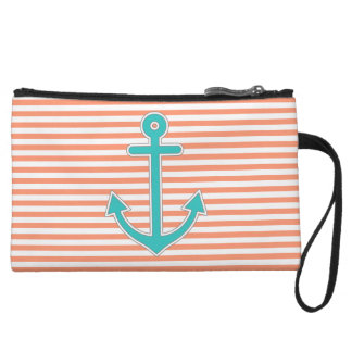 Coral Stripes Teal Anchor Nautical Wristlet Wallet