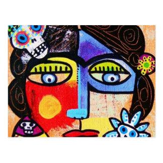 Coral Sugar Skull Mexican Woman Postcard