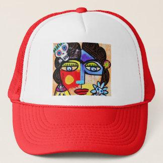Coral Sugar Skull Trucker Hat