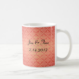 Coral Sunburst Damask Coffee Mug