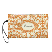 Coral Swan Damask Designer Barely There Purse