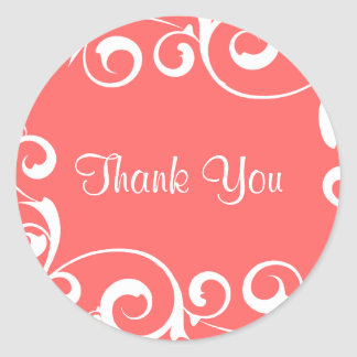 Coral Swirl Thank You Sticker