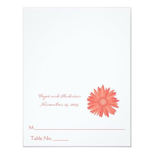 "Coral Swirl Tree on Eggplant Wedding Place Card 4.25"" X 5.5"" Invitation Card"
