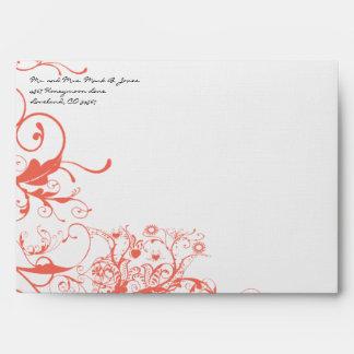 Coral Swirls Wedding Envelopes