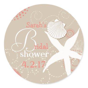 Beach Themed Coral Tan Beach Bridal Shower Classic Round Sticker