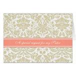 Coral Tan Damask Sister Bridesmaid Invitation Cards