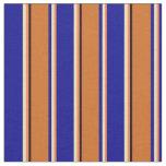 [ Thumbnail: Coral, Tan, Dark Blue, Chocolate & Black Stripes Fabric ]