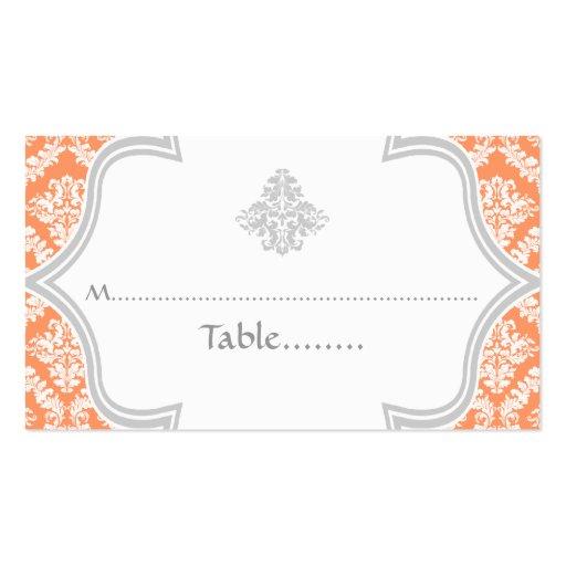 Coral, tarjeta gris del lugar del boda del damasco tarjetas de visita