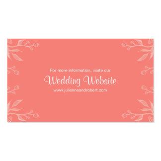 Coral tarjeta simple y elegante del | del boda del tarjetas de visita