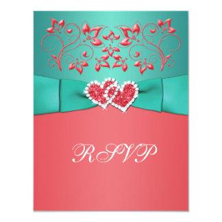 Coral, tarjeta unida floral de RSVP de los Comunicados Personalizados
