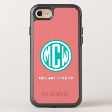 Coral Teal 3I White Circle Monogram Font DIY BG OtterBox Symmetry iPhone 8/7 Case
