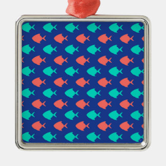 Coral Teal and Cobalt Blue Little Fish Pattern Metal Ornament