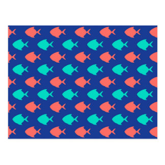 Coral Teal and Cobalt Blue Little Fish Pattern Postcard