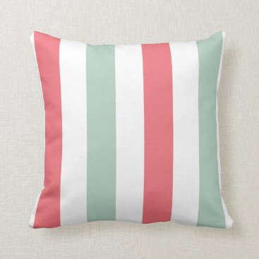 PillowPretty Coral, Teal and White Striped Throw Pillow