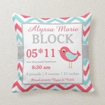 Toddler & Baby themed Coral Teal Bird Baby Announcement Pillow