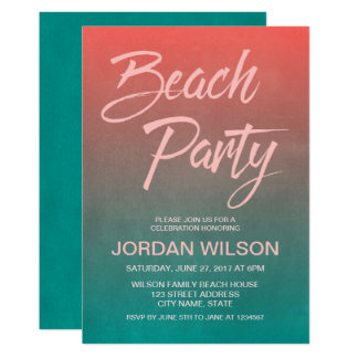Coral Teal Birthday Anniversary Beach Party Invite