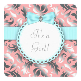 Coral Teal Blue and Gray Baby Girl Shower Invite