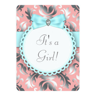 Coral Teal Blue and Gray Baby Girl Shower Personalized Invite